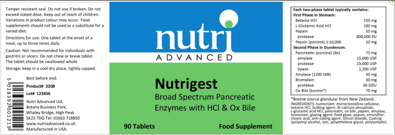 Nutrigest Hcl With Digestive Enzymes Support 90 Tablets Nutri Advanced